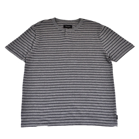 Brixton - Milwaukee Men's S/S Sleeve Henley, Heather Grey