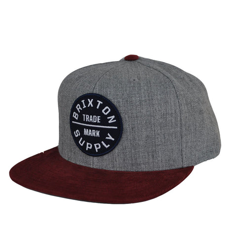 Brixton - Oath III Men's Snapback, Heather Grey/Cardinal