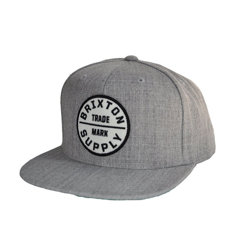 Brixton - Oath III Men's Snapback Hat, Light Heather Grey