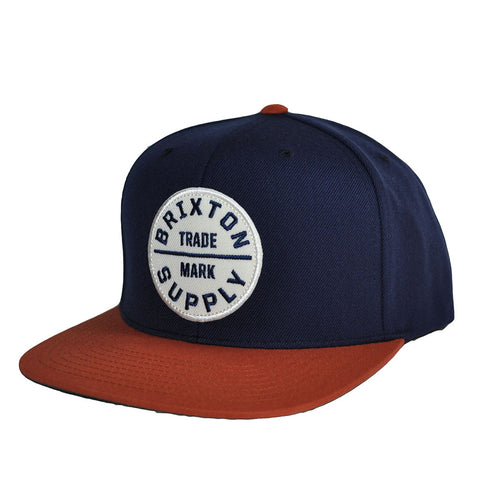 Brixton - Oath III Men's Snapback Hat, Navy/Copper