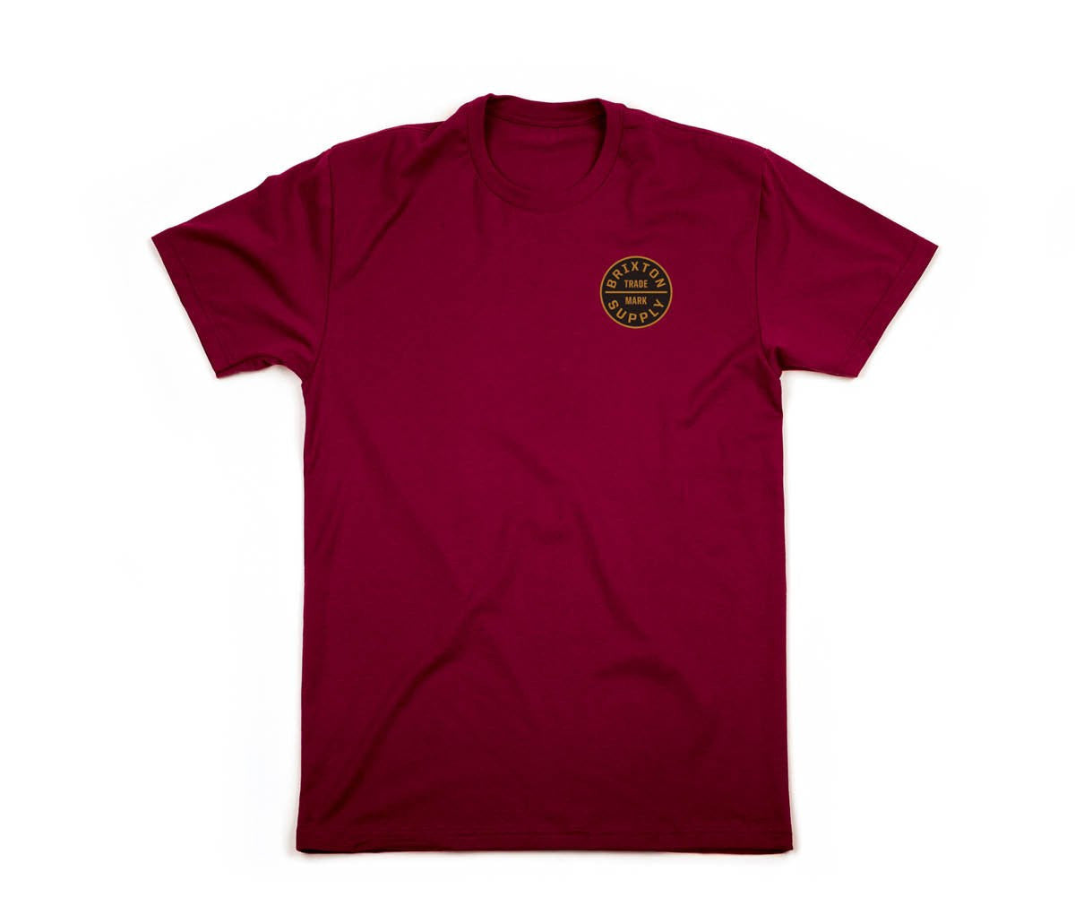 Brixton - Oath Men's S/S Standard Tee, Burgundy/Gold - The Giant Peach