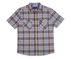 Brixton - Wayne Men's S/S Woven Shirt, Brown/Blue - The Giant Peach