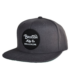Brixton - Wheeler Men's Snapback Hat, Charcoal Heather - The Giant Peach