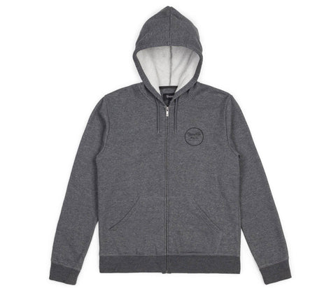 Brixton - Wheeler Men's Zip Hood Fleece, Charcoal Heather