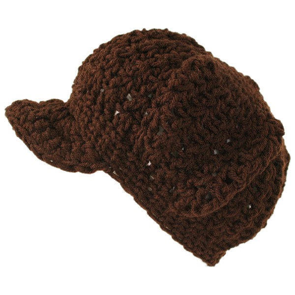 Nefra - V-Ball Crocheted Cap, Brown - The Giant Peach