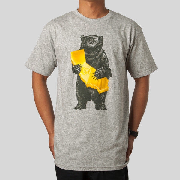 Upper Playground - Cali Bear Men's Shirt, Heather Gray - The Giant Peach