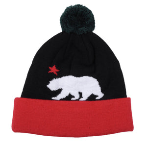TRUE - Cali Bear Pom Beanie Hat, Black - The Giant Peach