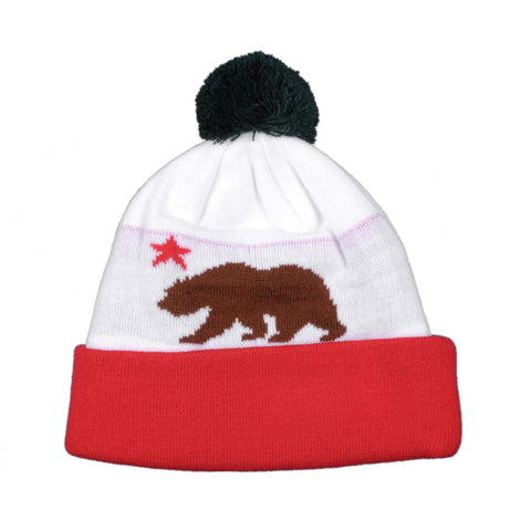 TRUE - Cali Bear Pom Beanie Hat, White