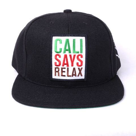 TRUE - Relax 6 Panel Snapback Hat, Black