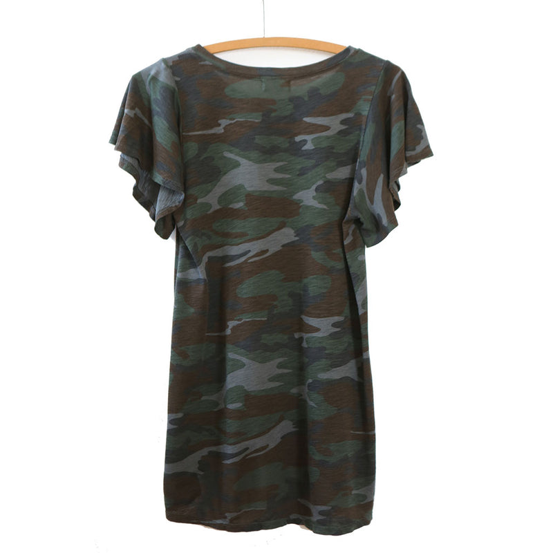 Flutter Sleeve Top, Camo