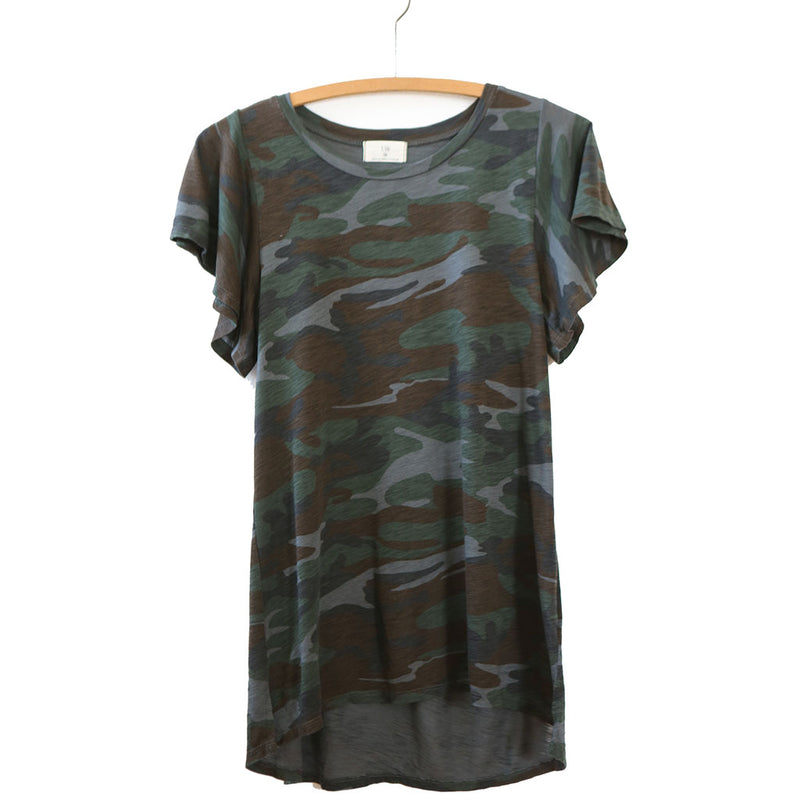 Women's Camo Tee with flutter sleeves