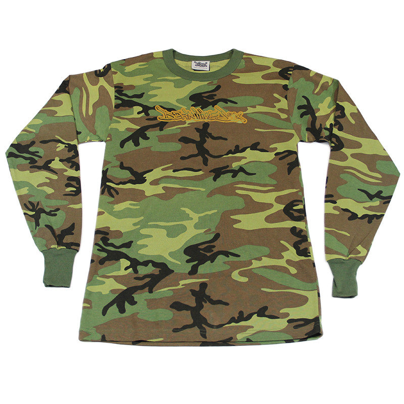 Definitive Jux - Gold Logo Long Sleeved Men's Shirt, Camo - The Giant Peach - 1