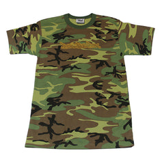 Definitive Jux - Gold Logo Short Sleeved Men's Shirt, Camo - The Giant Peach - 1