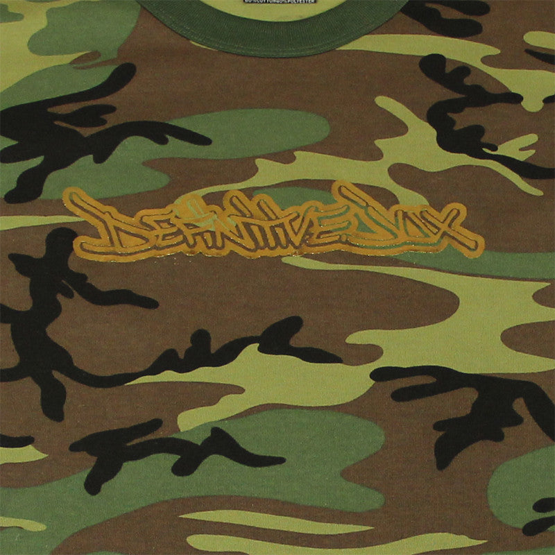 Definitive Jux - Gold Logo Short Sleeved Men's Shirt, Camo - The Giant Peach