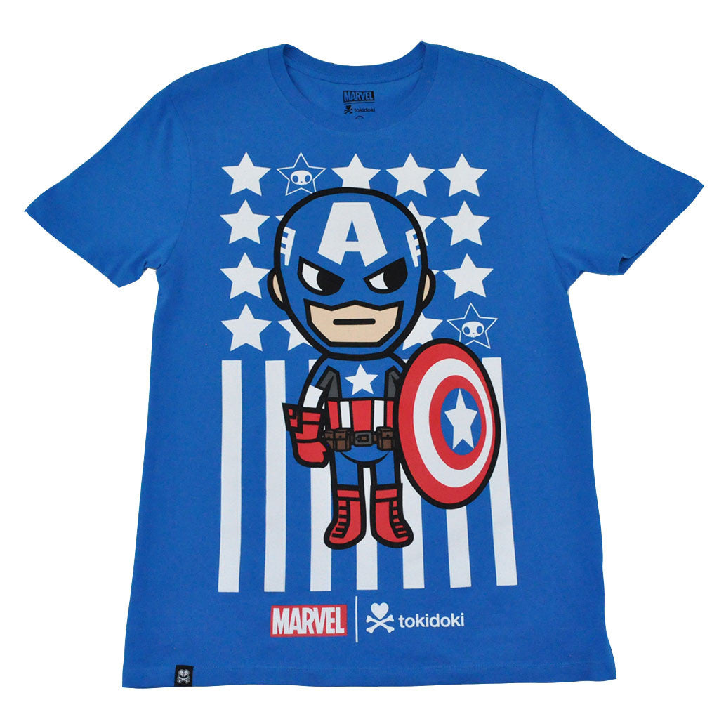 tokidoki TKDK - Captain America Men's Shirt, Blue - The Giant Peach