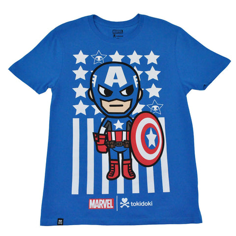 tokidoki TKDK - Captain America Men's Shirt, Blue