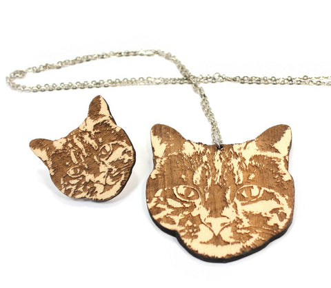 GoodWood NYC- Cat Necklace and Pin set, natural