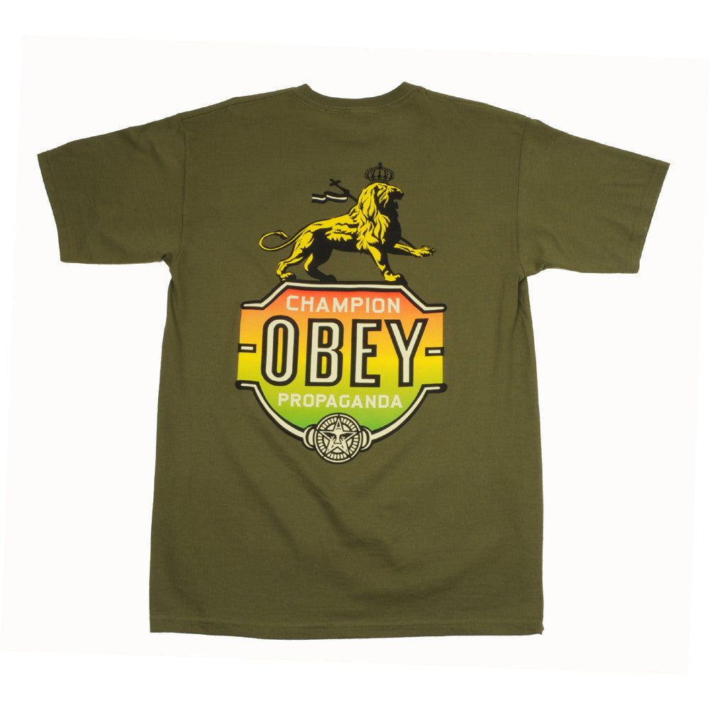 OBEY - Champion Lion Men's Tee, Olive - The Giant Peach