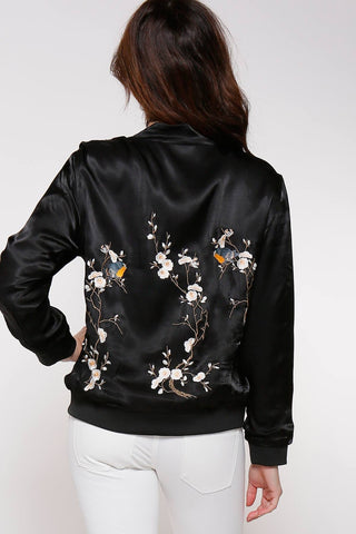 Cherry Blossom Women's Satin Bomber Jacket, Black