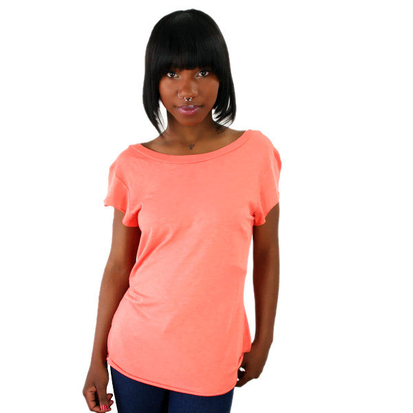 Blue Life - U-Turn Deep Scoop Back Women's Top, Carrot - The Giant Peach
