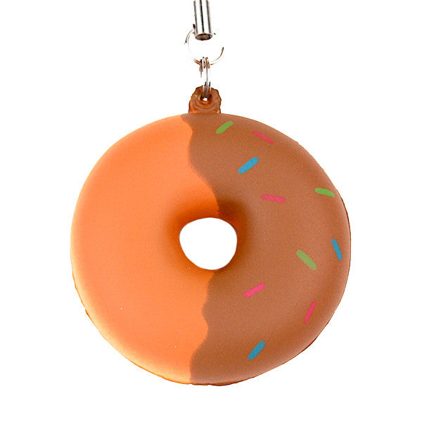 Japan Benefit - Sweets Squeeze Donut Cellphone Charm, Chocolate - The Giant Peach