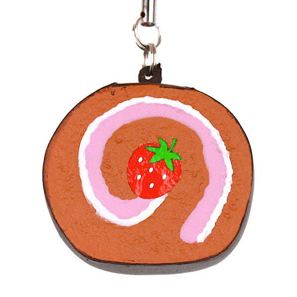 Japan Benefit - Sweets Squeeze Rollcake Cellphone Charm, Chocolate - The Giant Peach