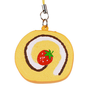 Japan Benefit - Sweets Squeeze Rollcake Cellphone Charm, Vanilla - The Giant Peach