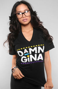 Adapt - Damn Gina Women's V-Neck Shirt, Black - The Giant Peach