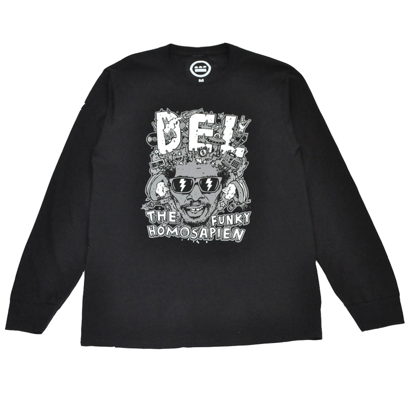 Del The Funky Homosapien - Mind Explosion Men's L/S Tee, Black - The Giant Peach