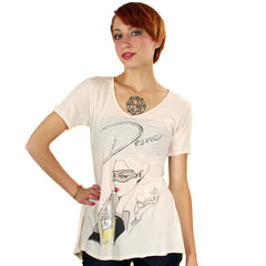 Trash & Luxury - Desire V-Neck Women's Top, Eggshell - The Giant Peach