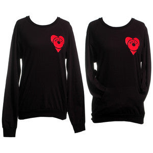 J Dilla - Dilla Heart Junior's L/S Raglan Shirt, Black - The Giant Peach