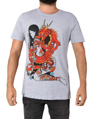 tokidoki TKDK - Dragon Chaser Men's Shirt, Light Heather Grey