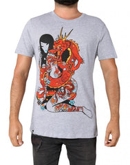 tokidoki TKDK - Dragon Chaser Men's Shirt, Light Heather Grey - The Giant Peach
