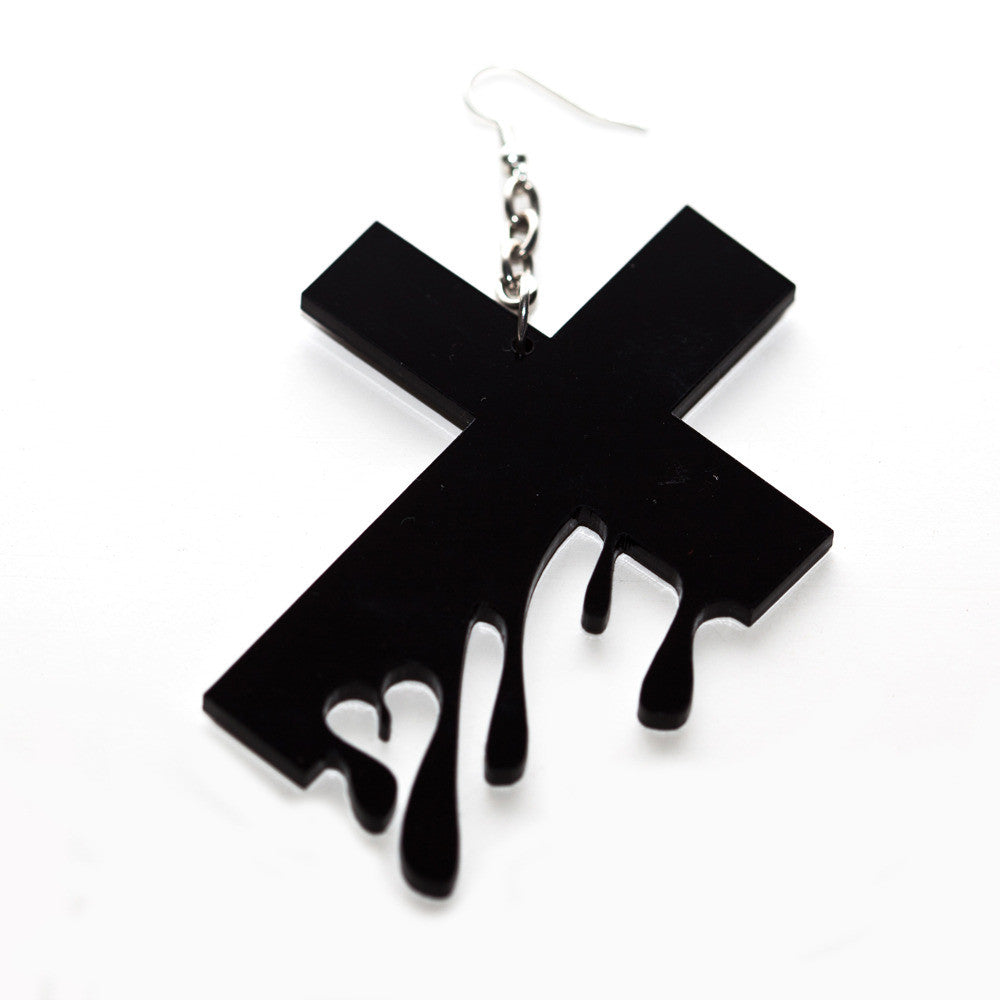 Hello Drama - Drip Drop 1 Single Earring, Black - The Giant Peach - 1