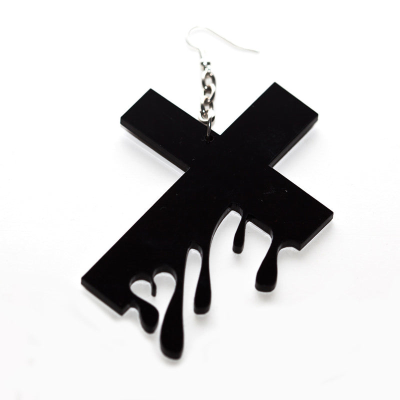 Hello Drama - Drip Drop 1 Single Earring, Black - The Giant Peach