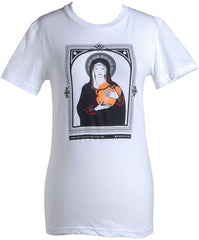 Giant Peach Virgin Mary Girl's Shirt, White - The Giant Peach