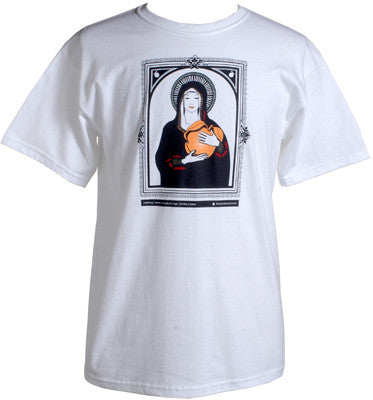 Giant Peach Virgin Mary Men's Shirt, White - The Giant Peach