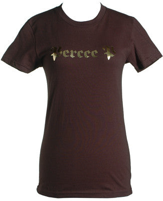Percee P - Logo Women's Shirt, Brown/Gold Foil - The Giant Peach