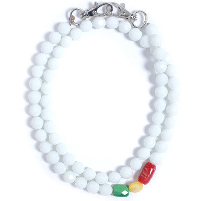 Trixy - Rasta Facet Necklace, White - The Giant Peach