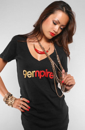 Adapt - Empire Women's V-Neck Shirt, Black