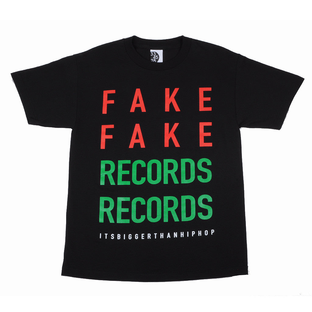 Ongaku - Fake Records Men's T-Shirt,  Black - The Giant Peach