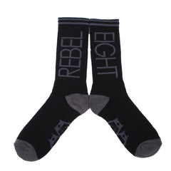 Rebel8 - Flip Logo Socks, Black and Grey - The Giant Peach