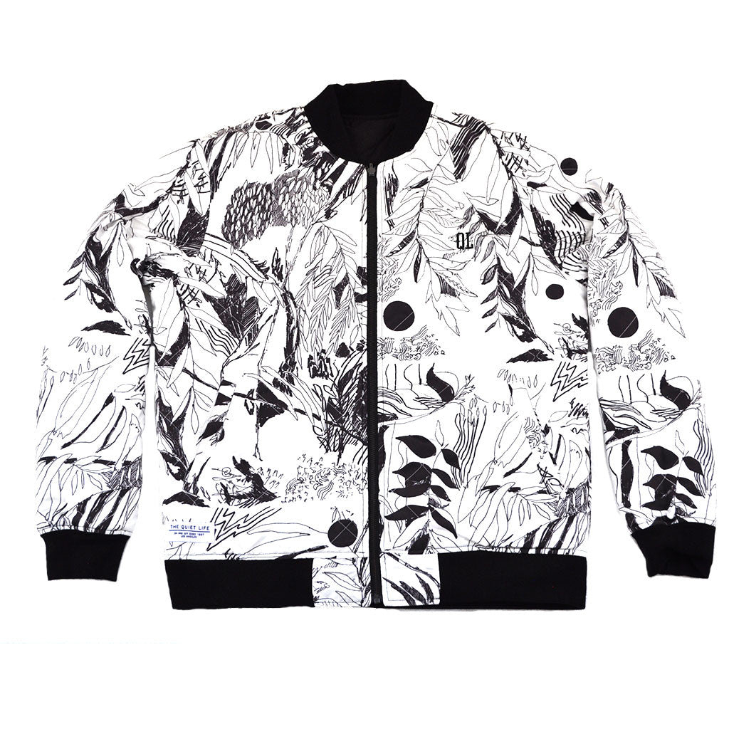 The Quiet Life - Flora Reversible Quilted Men's Coach Jacket, Black/Floral - The Giant Peach - 2