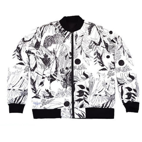 The Quiet Life - Flora Reversible Quilted Men's Coach Jacket, Black/Floral