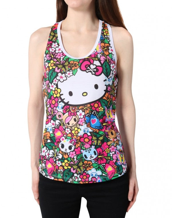 tokidoki x Hello Kitty - Floral Friends Women's Racerback Tank Top, White