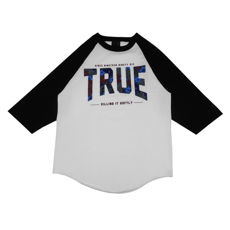 TRUE - Men's True Floral 2 Raglan Tee Shirt, White/Black - The Giant Peach