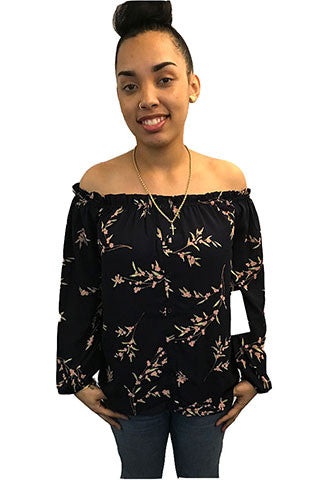 Floral Off Shoulder Women's Top, Navy/Pink