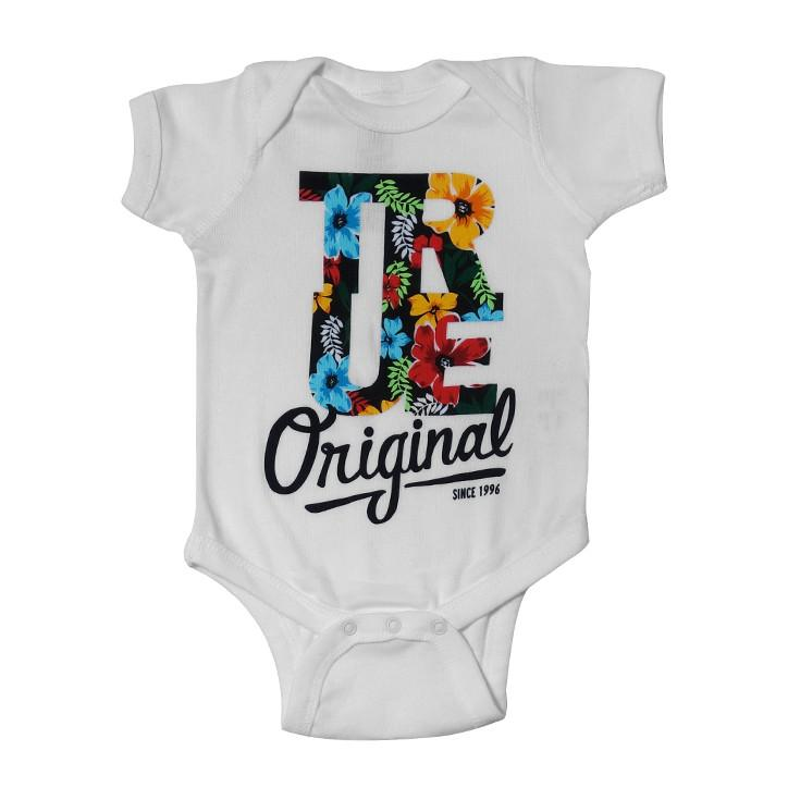 TRUE - Floral Infant One Piece, White
