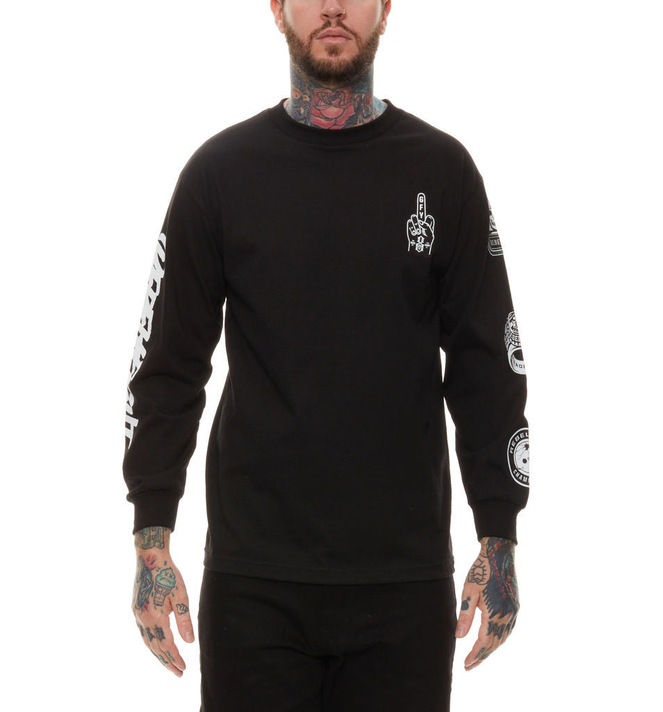 REBEL8 - Forever Fucked Men's L/S Shirt, Black - The Giant Peach - 1
