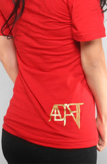 Adapt - Gold Blooded Women's V-Neck Shirt, Red - The Giant Peach